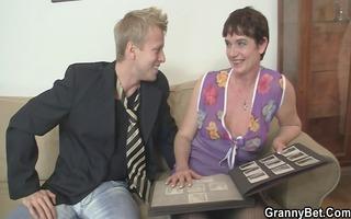 her hirsute old cum-hole acquires hammered