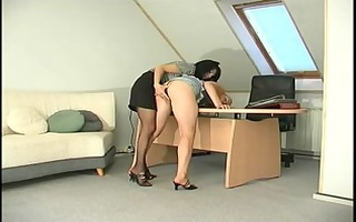 russian lesbian ladyboss tempt & belt on her