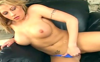 breasty blond in pants and high heels rubs her