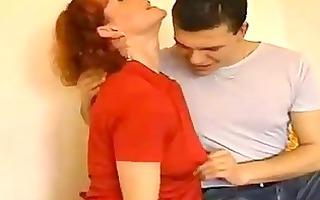 russian lad cum inside older redhead mother