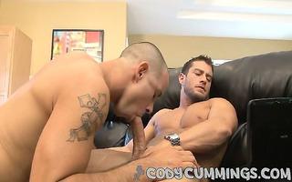 he takes codys hardon into his mouth, engulfing