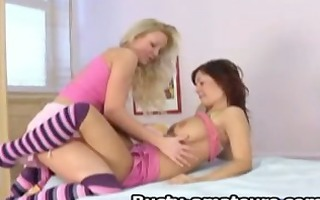 hawt lesbos on bawdy cleft licking action