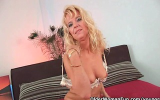 excited granny receives drilled hard
