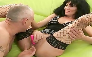 granny in nylons acquires her pussy drilled