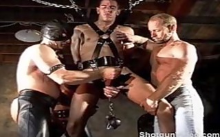 cbt fuckfest suspended and caged in chains.
