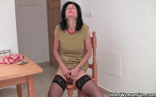 curly granny emanuelle in black stockings