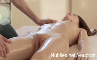 miniature tit coed receives moist massage and