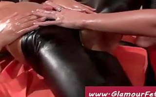 glamour lesbian babes play with oil and latex