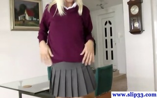 golden-haired dilettante schoolgirl strokes
