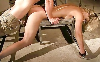 gorgeous golden-haired receives bondaged and