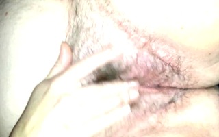 my wife rubbing her unshaved wet crack