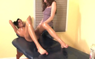 lesbian oil massage - with a oops (fart slide) -