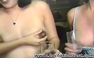 lesbian babes play with their milky pantoons