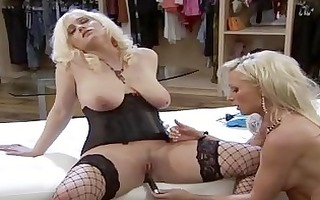 playful blond lesbos in dark nylons and hot