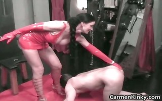 perverted carmen acquires in red latex for her