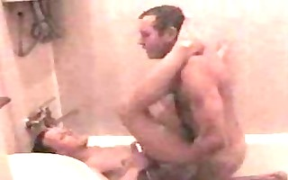 concupiscent gay men banging in bath beneath