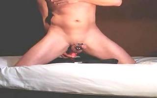 riding a dildo, stroking and cumming