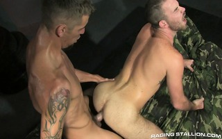 recruit parker jerks whilst his wazoo endures