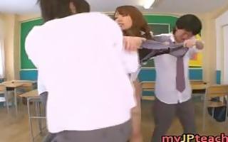 eri ouka lovely japanese teacher group-sex part5