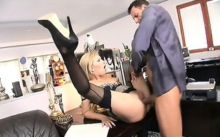 golden-haired secretary donna bell receive her