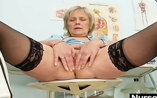 golden-haired granny nurse self exam with