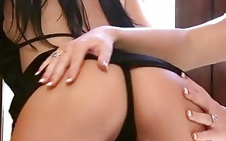 breasty dark brown lesbo gilfriends caressing and