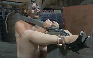 tough angel is gagged up and caned zealously