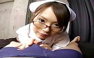 japanese nurse gives a sexy blowjob and hanjo