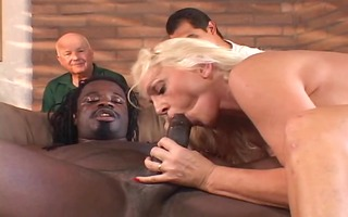 sexually lewd old husband watches his hot blonde