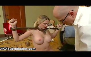 breasty maid fastened and face hole drilled in