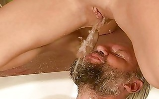 grand-dad and cutie pissing and fucking