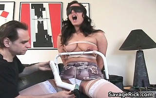 naughty brunette hair hoe acquires naked and tied