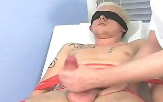 bound and blindfolded blond twink receives his