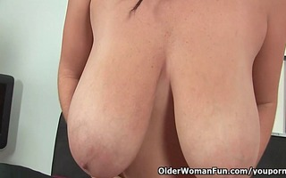 large titted older mommy copulates herself with