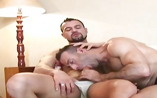 bearded aged gay hunk blows hard palpitating boner