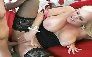 heavy chested golden-haired momma in stockings