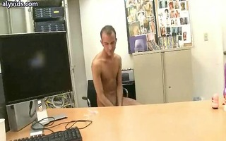 homo receives his dark hole fucked on desk