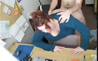 corpulent redhead fucking in office