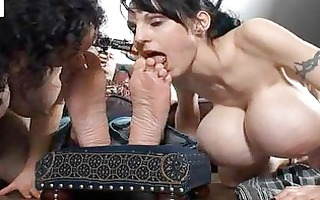 brunette hair hookers take up with the tongue feet