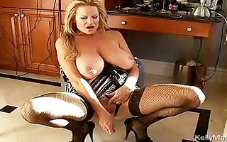 enormous chested older golden-haired in underware