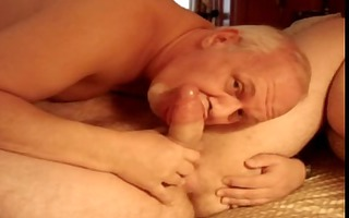 goateed dad engulfing a huge pounder