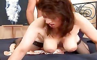 slutty older chick in nylons drilled
