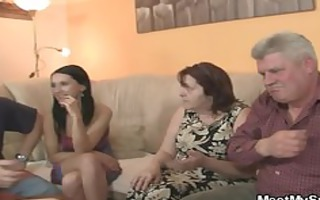 his gf is enticed by old mommy and drilled by old