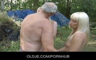 old woodcutter fucked by blond nubiles in the