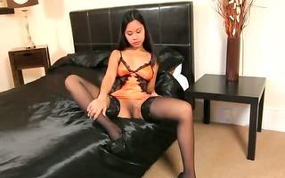 skinny oriental in luxury stocking