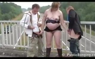 public - public sex trio with a preggo woman