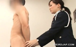 naughty oriental police woman vagina licked by