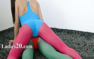 bushy lesbos in nylon underware loving