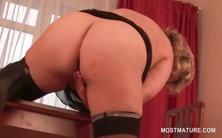 hawt older blond touching her soft vagina with