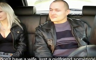 husband watches wife fucking in taxi